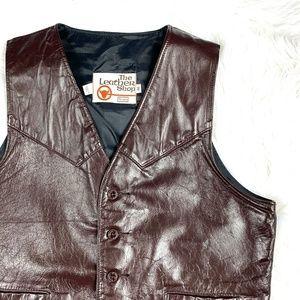 VINTAGE 1970s  |•SEARS•| The Leather Shop Vest